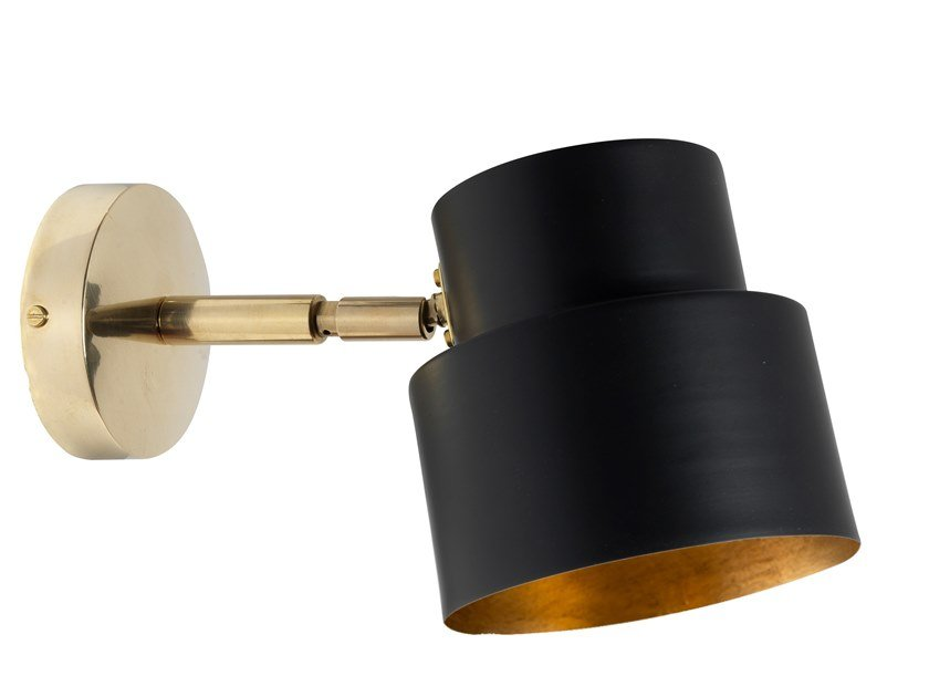LED brass wall light with swing arm SATELLITE 03 by Il Bronzetto