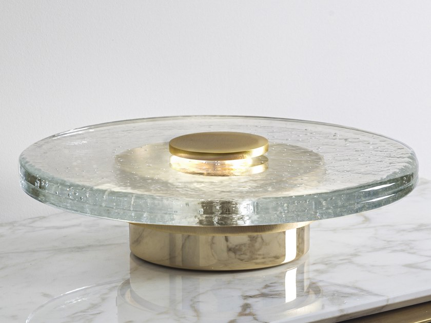Murano glass and metal table lamp SATURN by Cornelio Cappellini