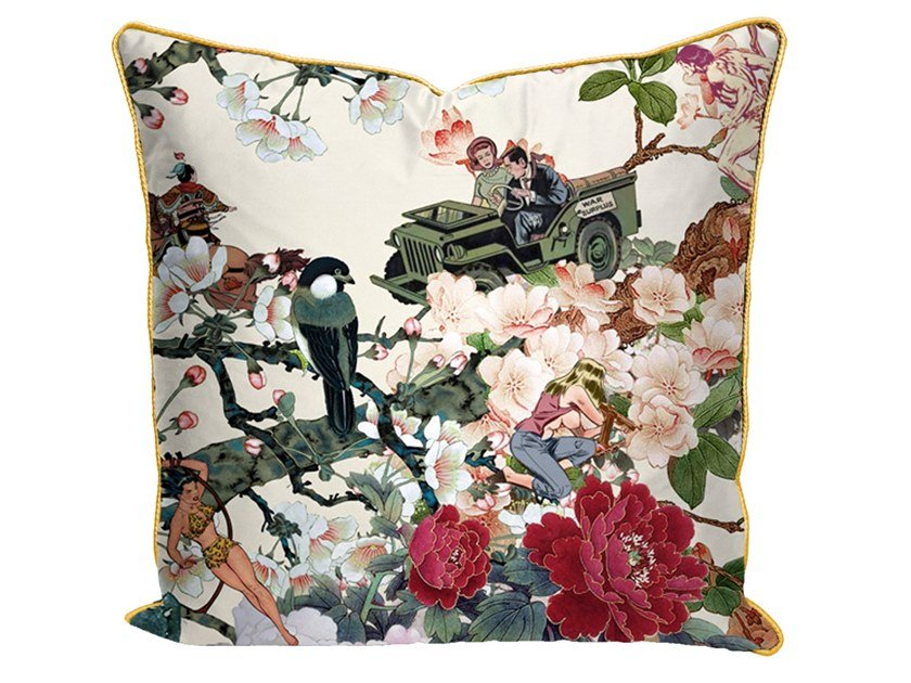 Square cotton cushion with floral pattern SAVE EMPRESS WU | Cushion by Mineheart