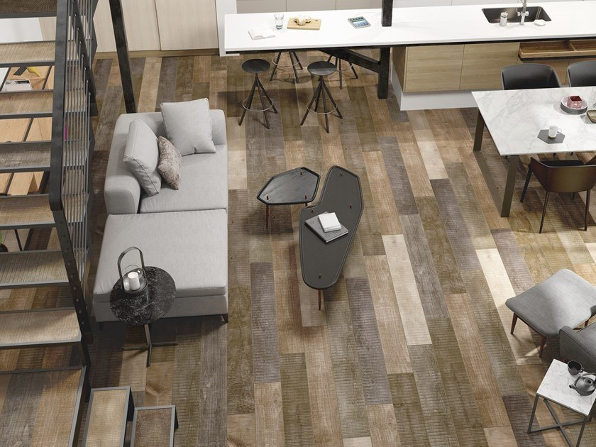 Indoor/outdoor wall/floor tiles with wood effect SAWNCUT by PERONDA