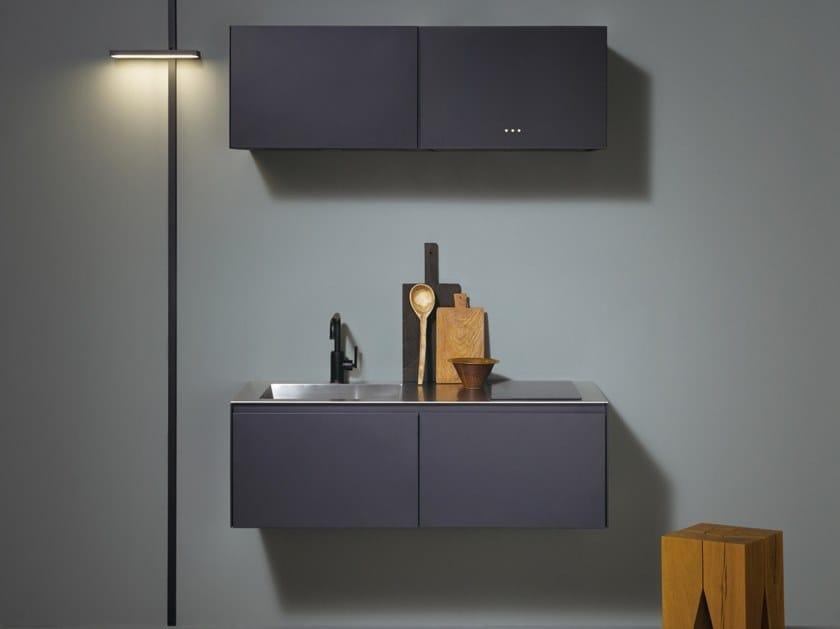 Zeilen- schwebende Mini-Küche aus Stahl im modernen Stil ohne Griffe ...
