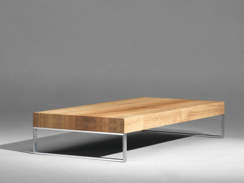 Sled base rectangular wooden coffee table SC10 by Janua