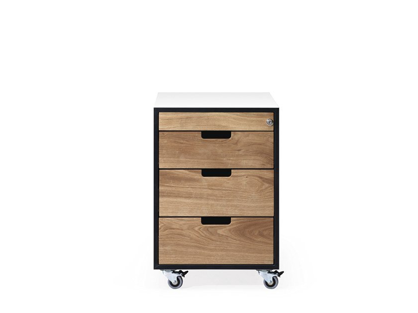 Rollcontainer aus Holz SC30 | Bürokommode aus Holz by JANUA