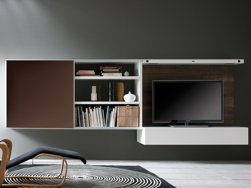 Open modular bookcase SCENAPERTA | Floating bookcase by Silenia
