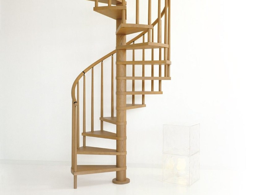 Ash Spiral staircase SCENIK 070 by Fontanot