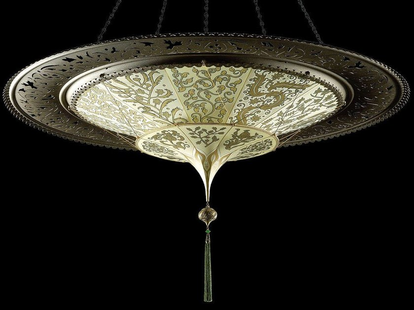 Silk pendant lamp SCHEHERAZADE 2 TIERS WITH METAL RING by Fortuny