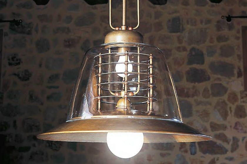 Direct-indirect light brass pendant lamp SCHIARA by Aldo Bernardi