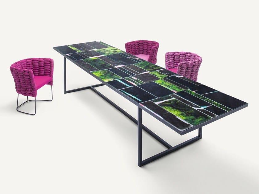 Rectangular glazed lava table SCIARA | Table by paola lenti