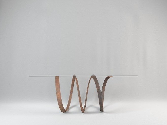 Rectangular crystal and steel table SCORZ by TrackDesign