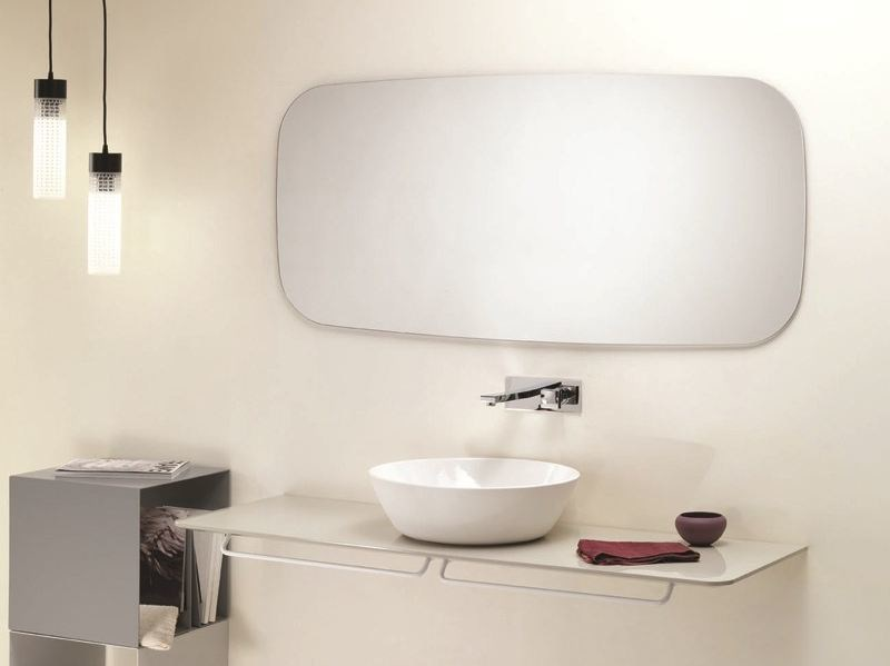 Rectangular wall-mounted bathroom mirror SCREEN by Ex.t
