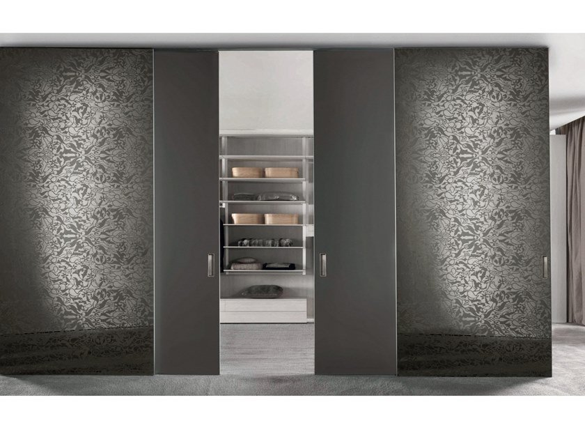 Sliding mirrored glass Walk-in wardrobes SCREEN | Mirrored glass cabinet door by Longhi
