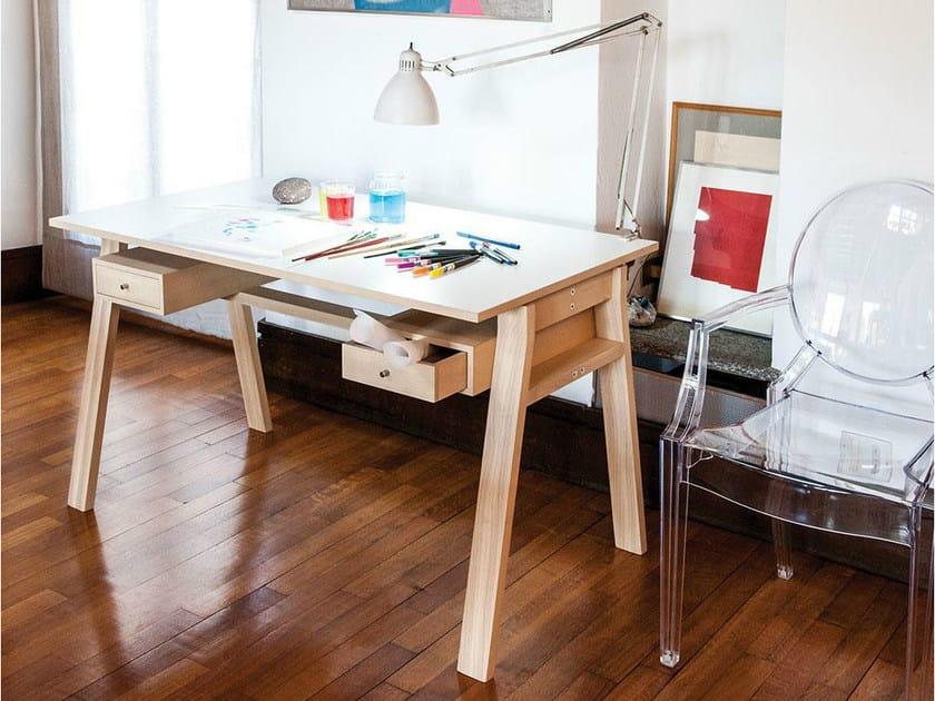 Laminate secretary desk SCRIBA WOOD by IFT