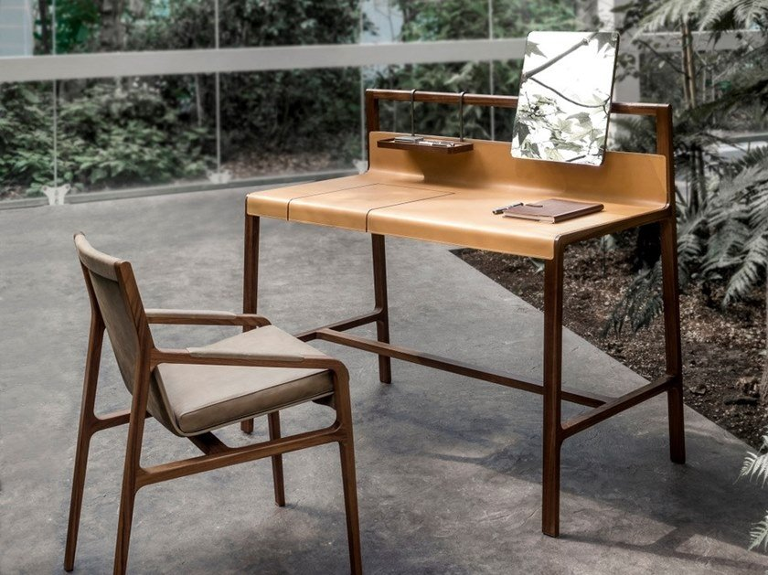 Tanned leather secretary desk / dressing table SCRIBE by ALIVAR