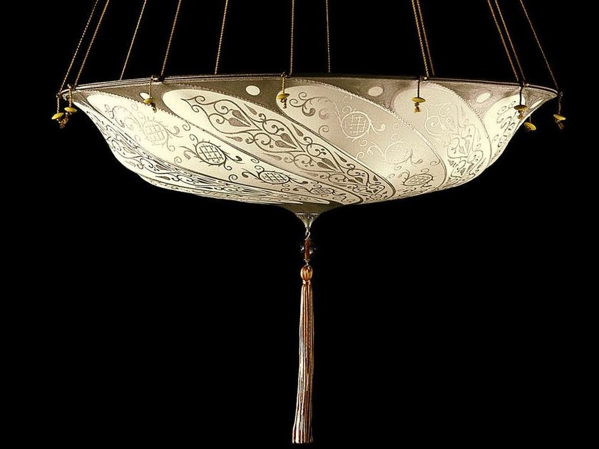 Silk pendant lamp SCUDO SARACENO | Silk pendant lamp by Fortuny
