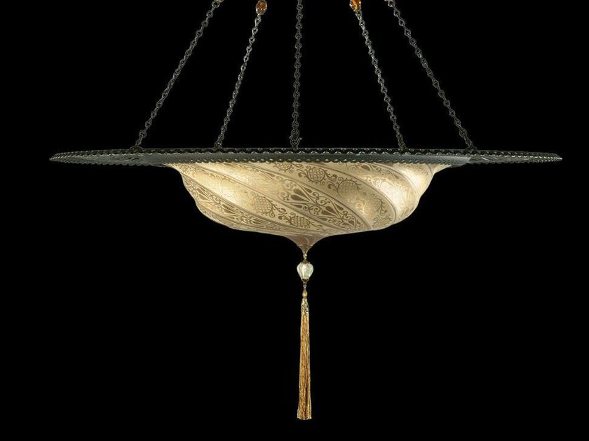 Glass pendant lamp SCUDO SARACENO WITH METAL RING | Glass pendant lamp by Fortuny