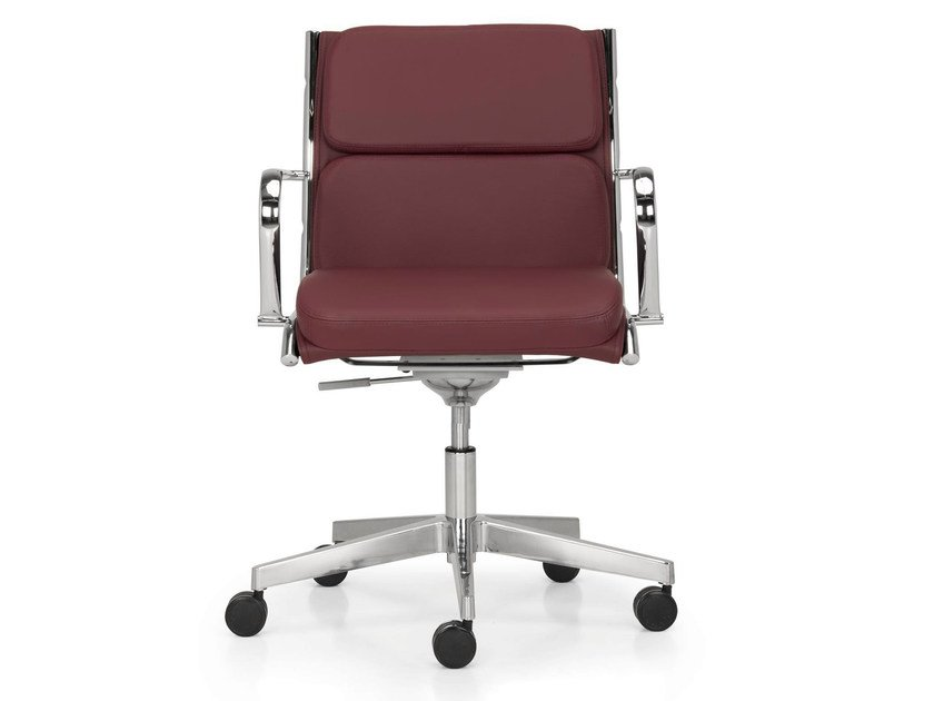 Height-adjustable leather task chair with 5-Spoke base with armrests SEASON COMFORT | Swivel task chair by Quinti Sedute