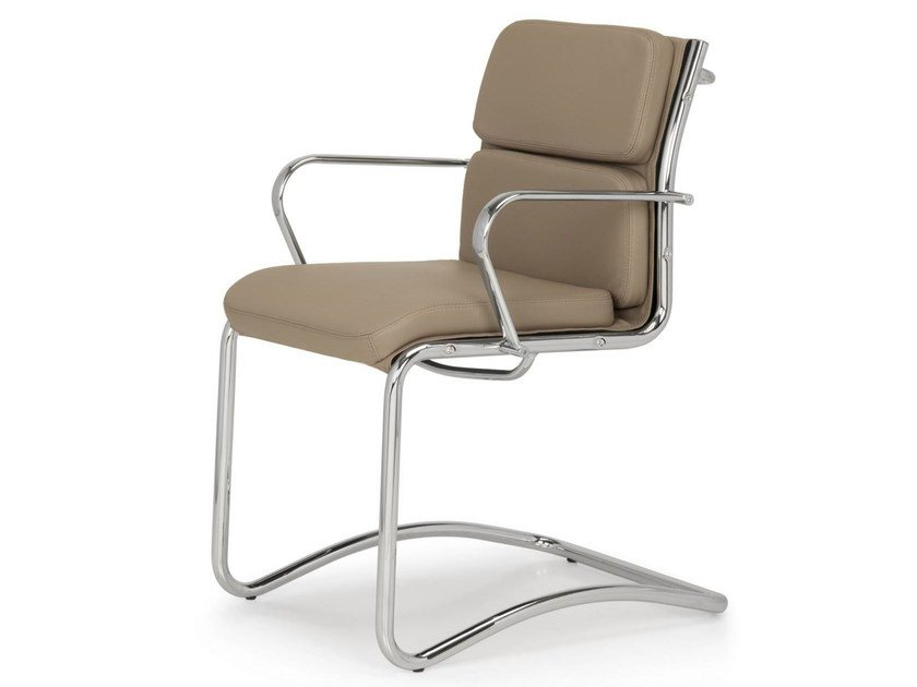 Superbe Cantilever Leather Chair With Armrests SEASON COMFORT | Cantilever Chair By  Quinti Sedute