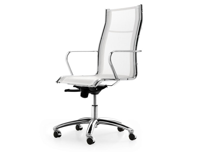 Height-adjustable mesh task chair with 5-Spoke base with armrests SEASON NET | Swivel task chair by Quinti Sedute