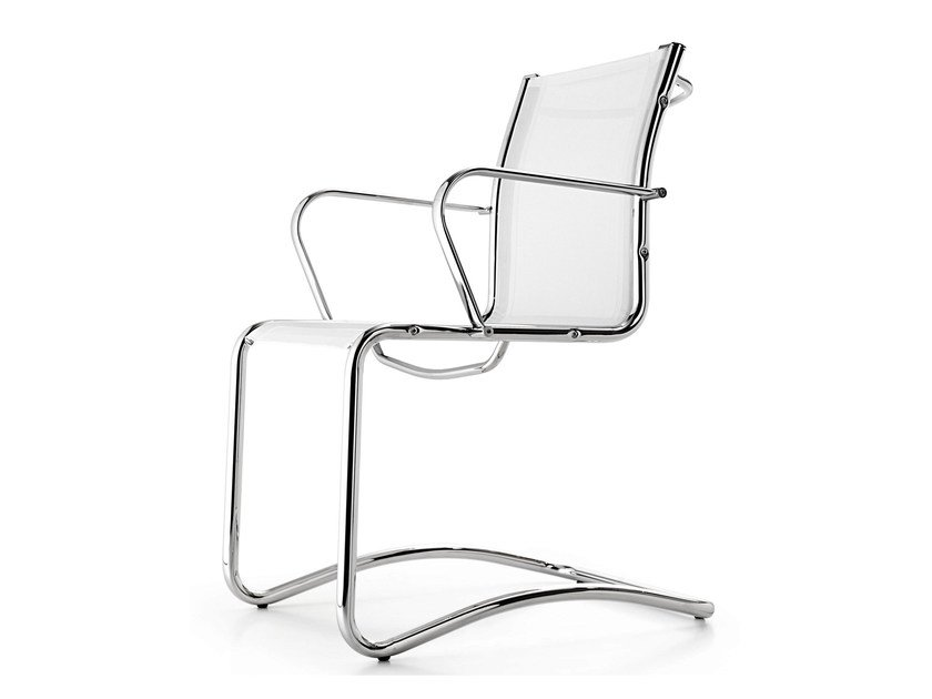 Cantilever mesh chair with armrests SEASON NET | Cantilever chair by Quinti Sedute
