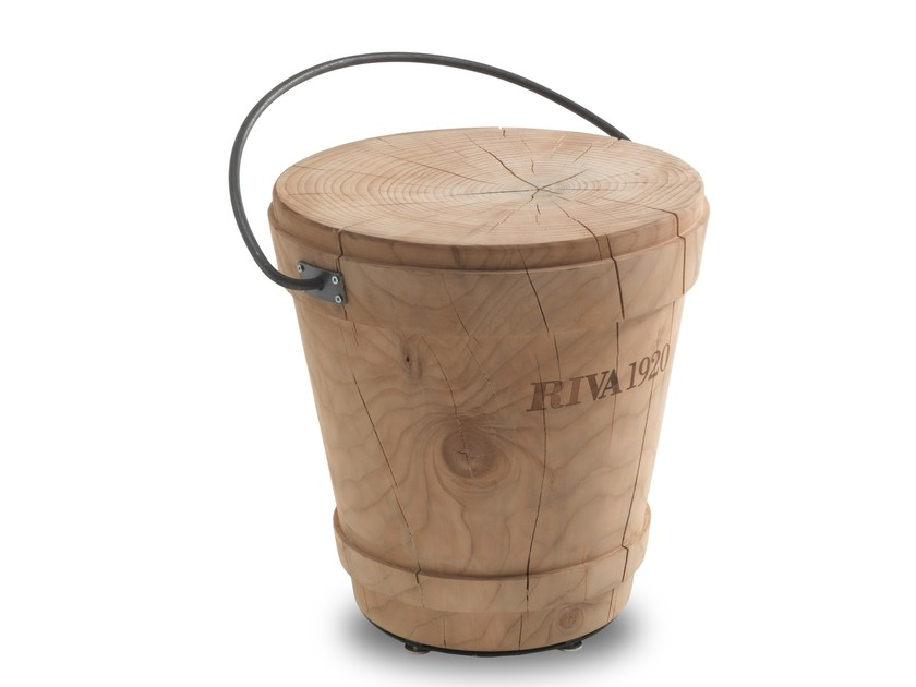 Low cedarwood stool SECCHIO by Riva 1920
