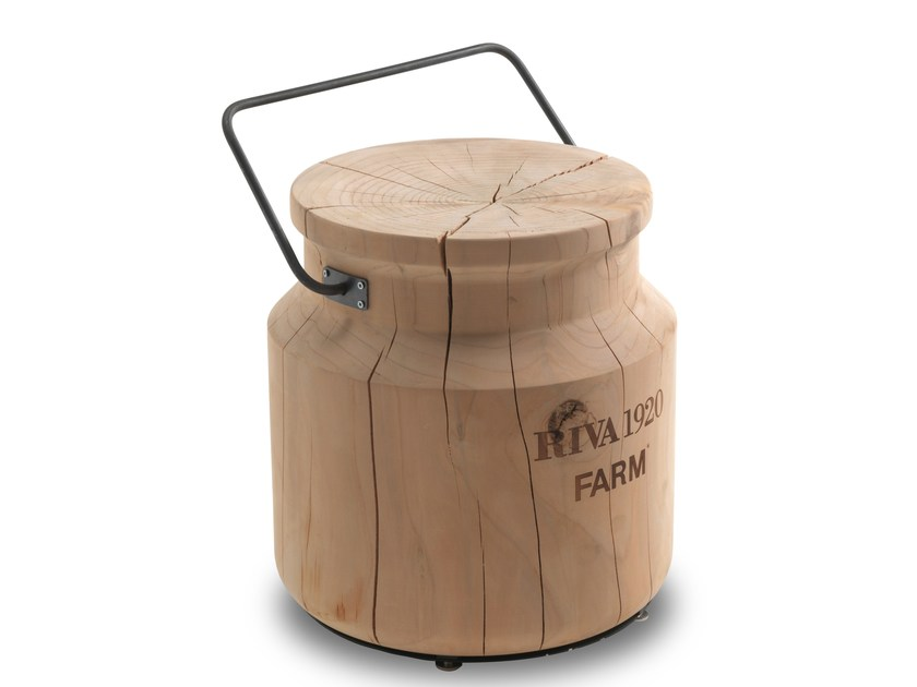 Low cedarwood stool SECCHIOLATTE by Riva 1920