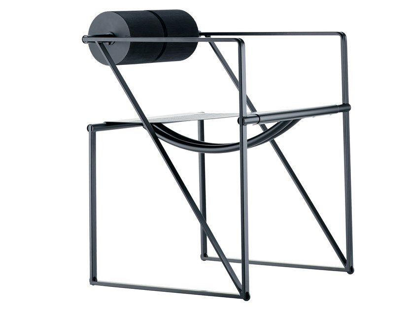 Perforated metal chair with armrests SECONDA - 602 by Alias