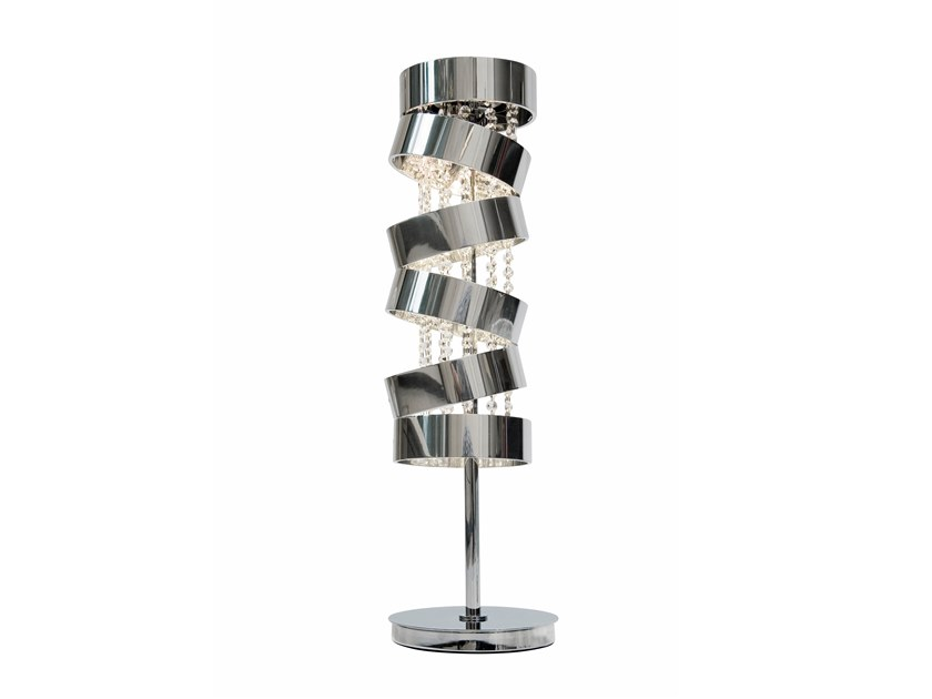 Contemporary style direct-indirect light metal table lamp with Swarovski® crystals SECRET CLUB T1 by ILFARI