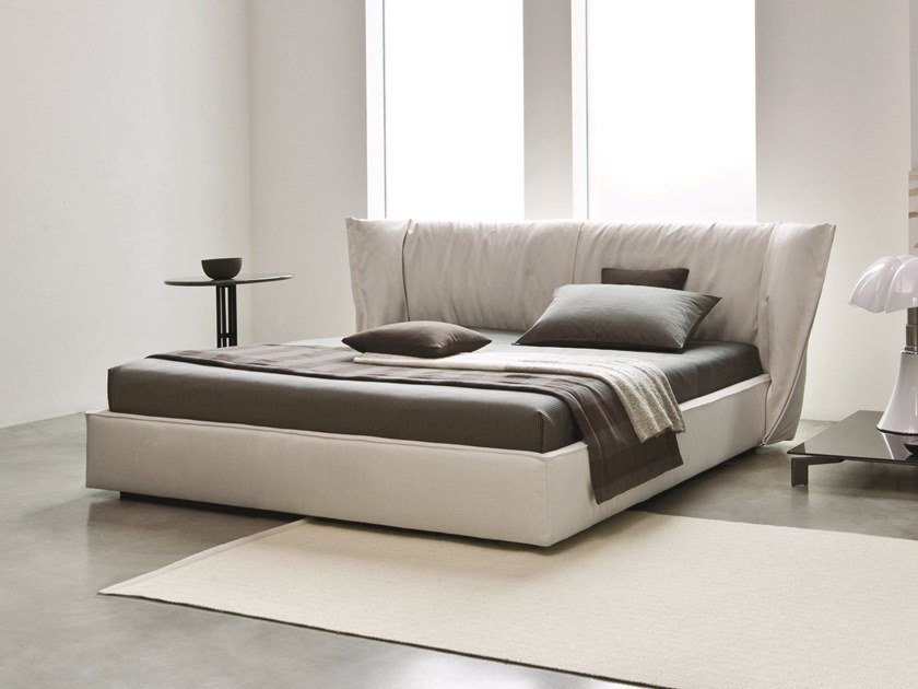 Double bed with removable cover with high headboard SEDONA by Busnelli