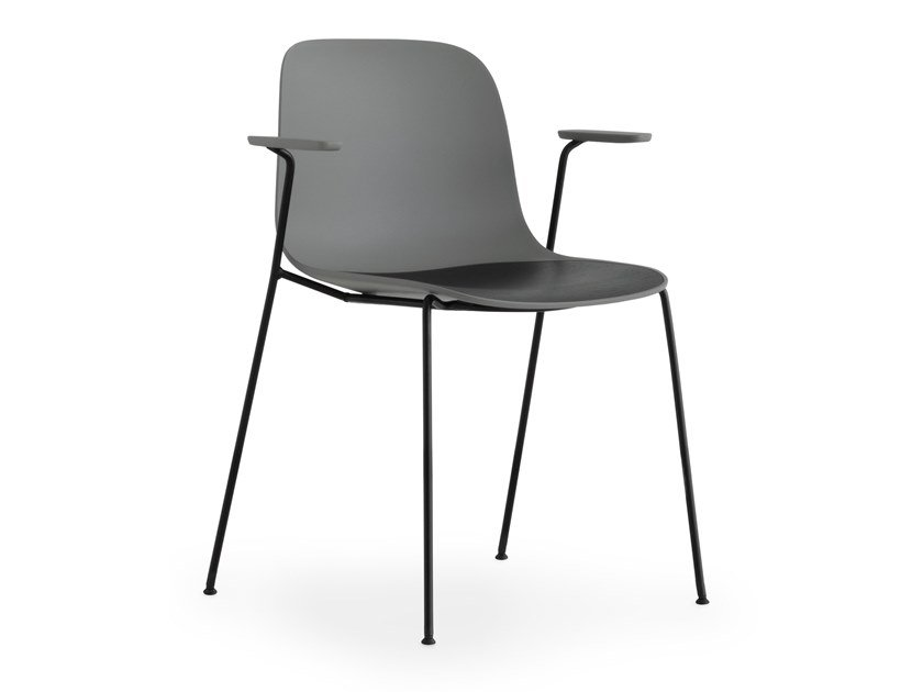 Stackable polypropylene chair with armrests SEELA | Stackable chair by Lapalma