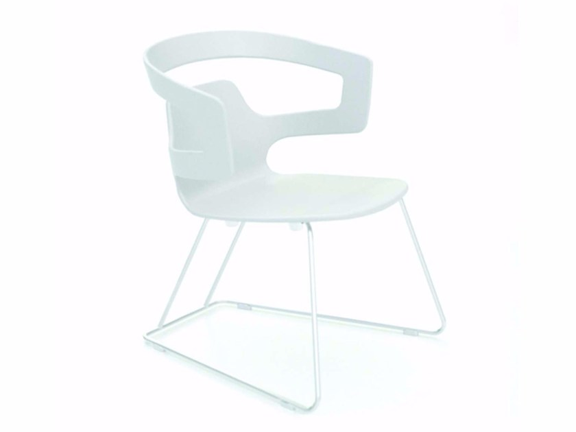 Sled base chair with armrests SEGESTA LOUNGE - 523 by Alias