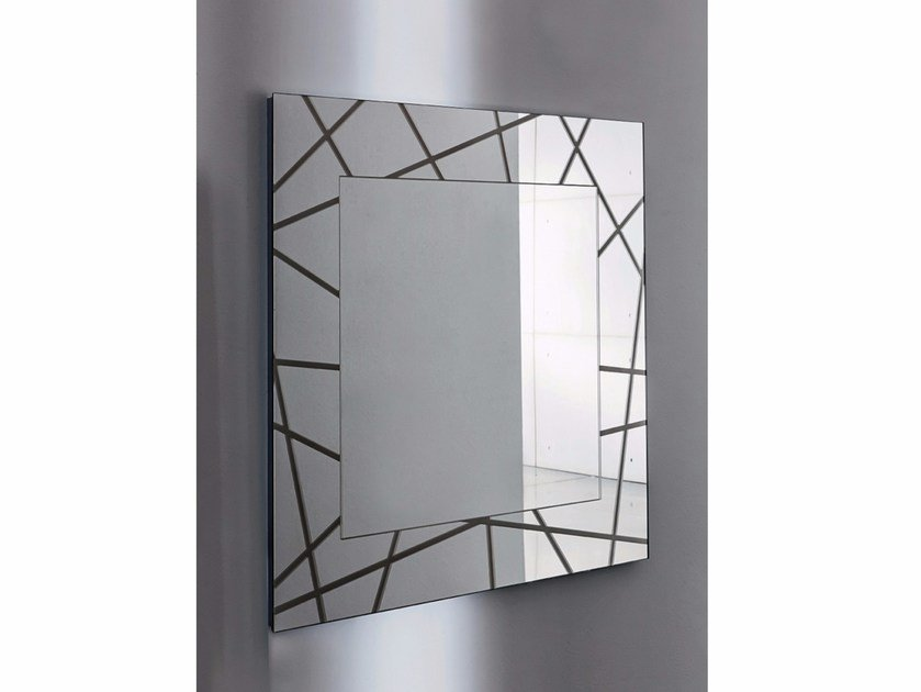 Square wall-mounted framed mirror SEGMENT SQUARE by Sovet italia