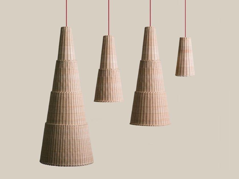 Woven wicker pendant lamp SEIA by Bottega Intreccio