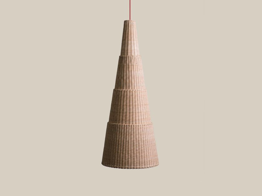 Woven wicker pendant lamp SEIA 140 by Bottega Intreccio