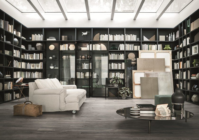 Sectional modular custom bookcase SELECTA by Lema