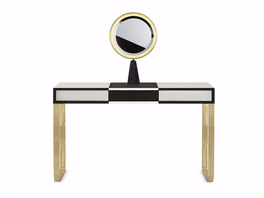 Wooden and brass dressing table SELENE | Dressing table by Gallotti&Radice