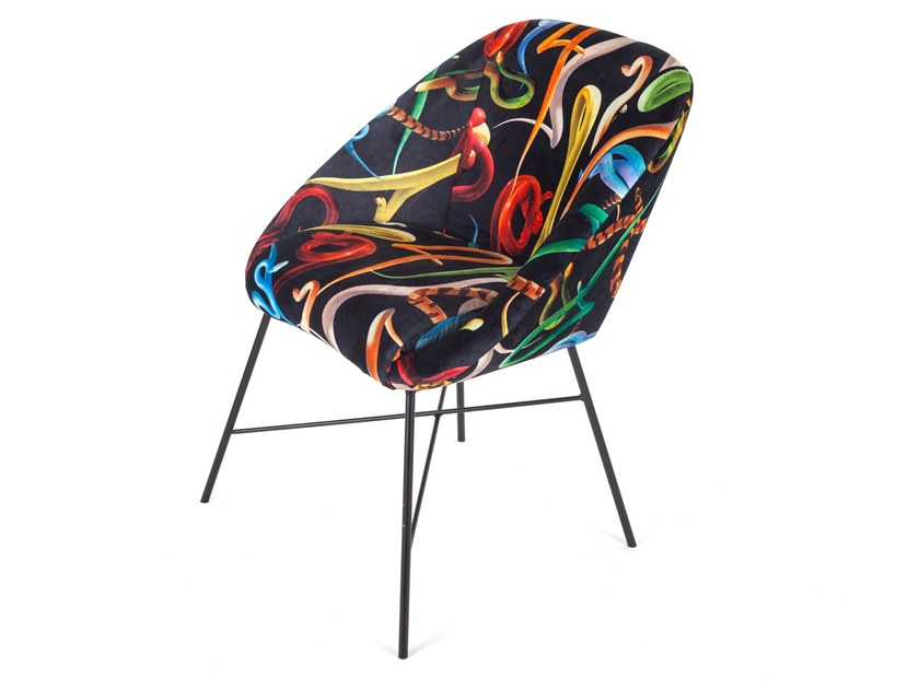 Upholstered fabric chair SELETTI WEARS TOILETPAPER | Chair by Seletti
