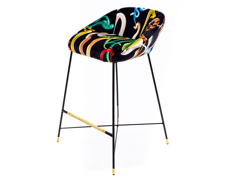 High upholstered fabric stool with back SELETTI WEARS TOILETPAPER | Stool by Seletti