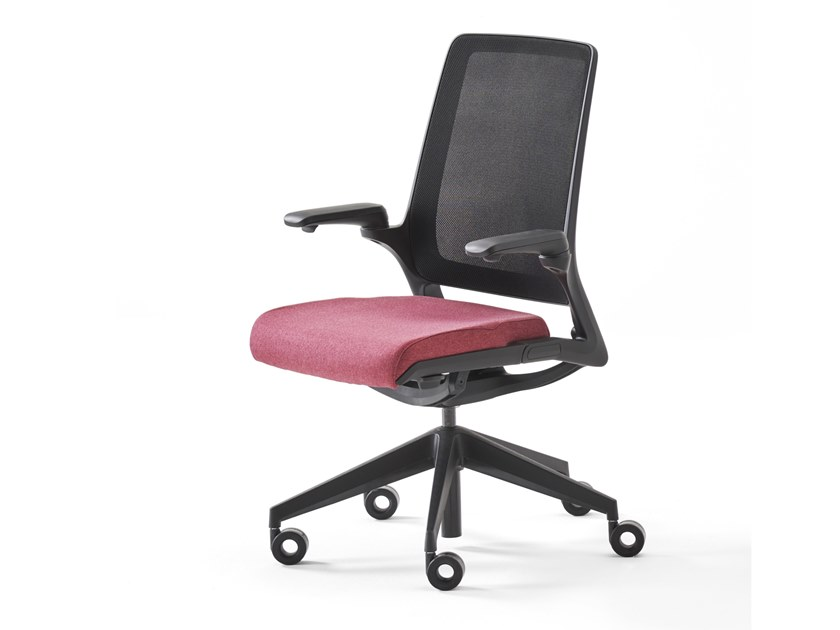 Upholstered mesh office chair with 5-Spoke base with castors SELF by ESTEL GROUP