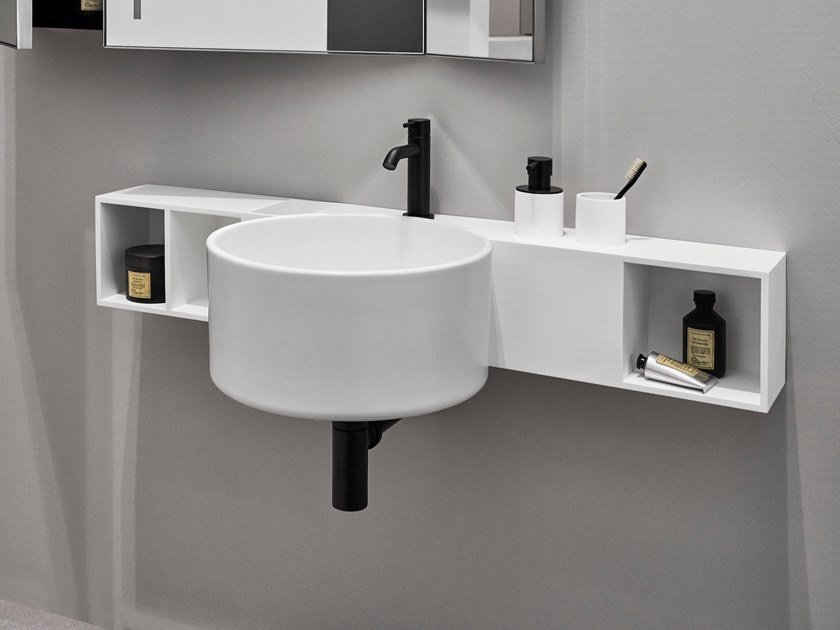 Round single wall-mounted ceramic washbasin SELLA by Ceramica Cielo