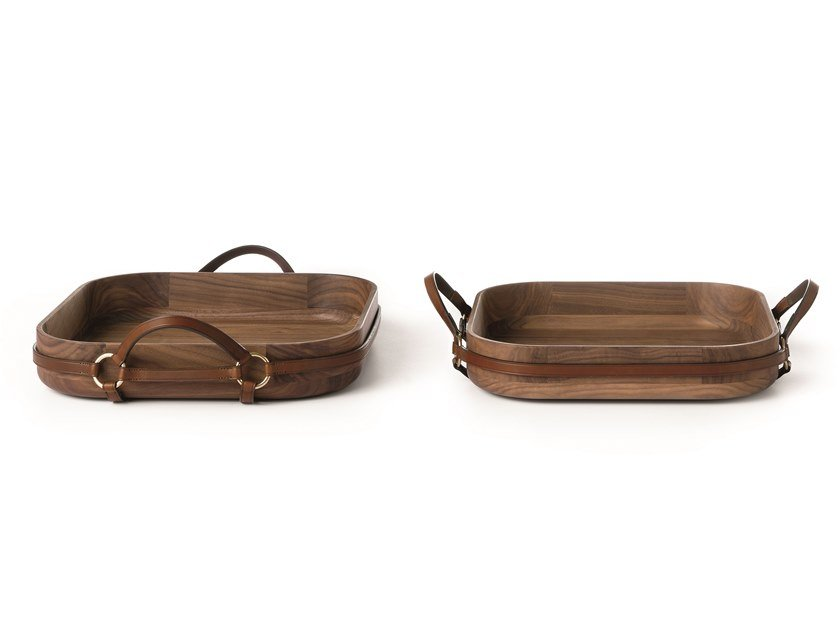 Square walnut tray SELLERIA 01/02 | Tray by Arte Brotto