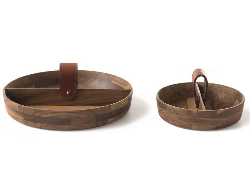Round walnut tray SELLERIA 03/04   Tray by Arte Brotto