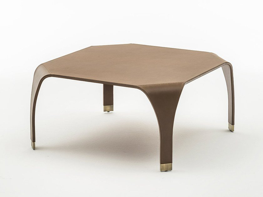 Low leather coffee table SEMPIONE by OAK
