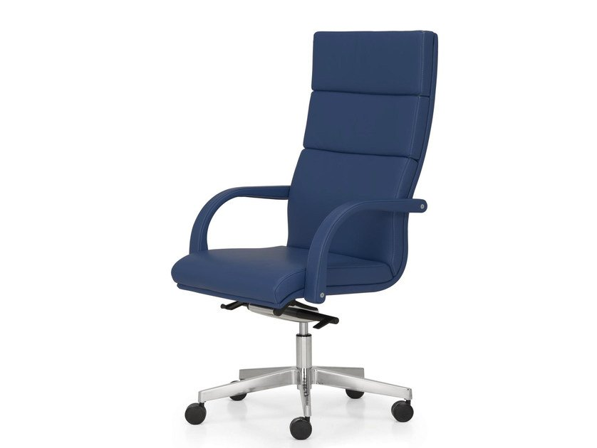 Height-adjustable leather executive chair with armrests with casters SENATOR   High-back executive chair by Quinti Sedute