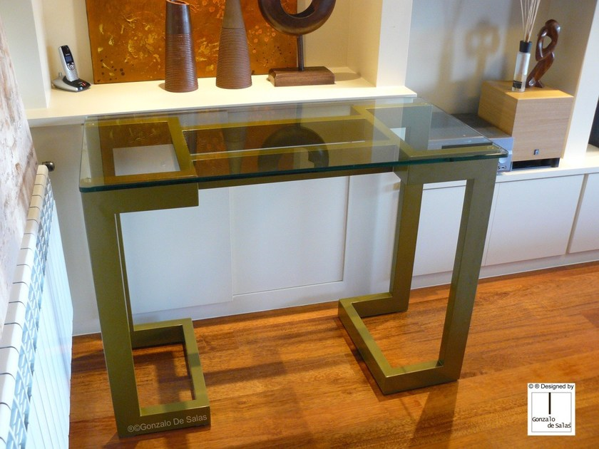 Rectangular glass and iron console table SENDAI | Console table by Gonzalo De Salas