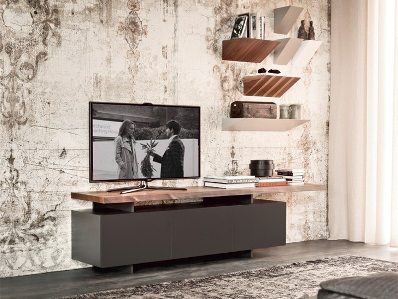 Low lacquered wooden TV cabinet SENECA by Cattelan Italia