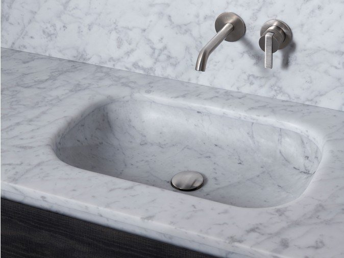 Inset marble washbasin with integrated countertop SENIO | Washbasin with integrated countertop by INBANI