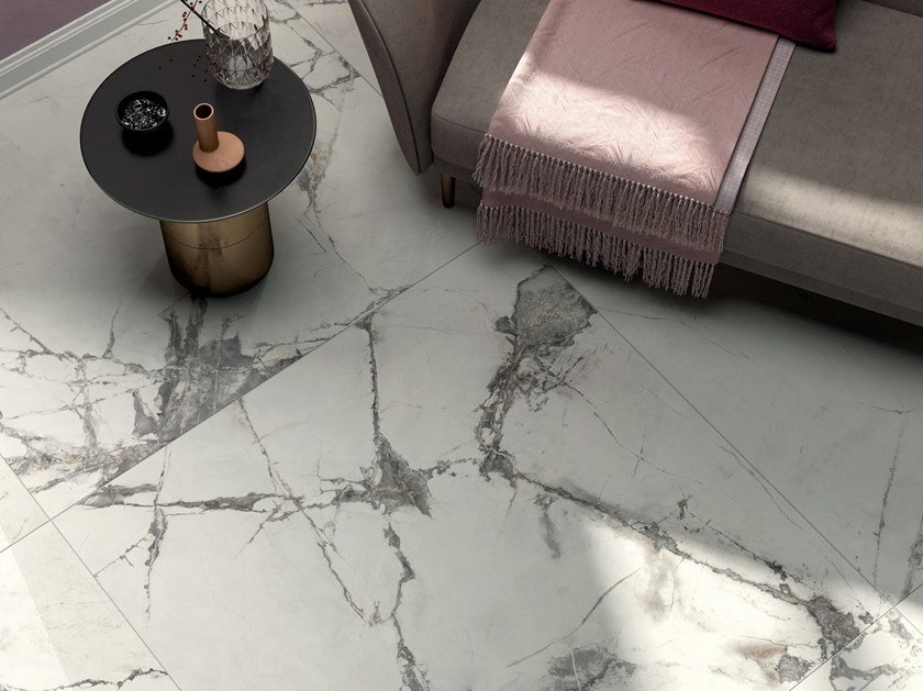Porcelain stoneware wall/floor tiles with marble effect SENSI UP by ABK