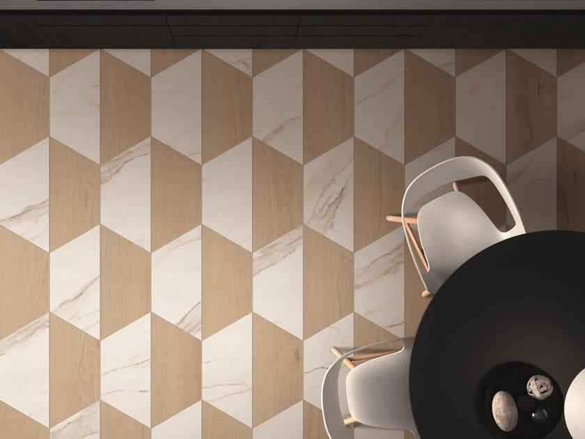 SENSI WIDE ABK SENSI WIDE 19 TRAPEZIO Calacatta Gold Lux abbinato a TRAPEZIO Crossroad Wood Amber