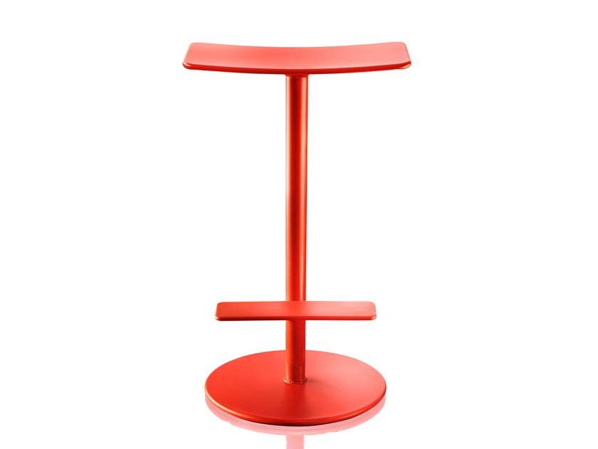 Powder coated steel stool with footrest SEQUOIA by Magis