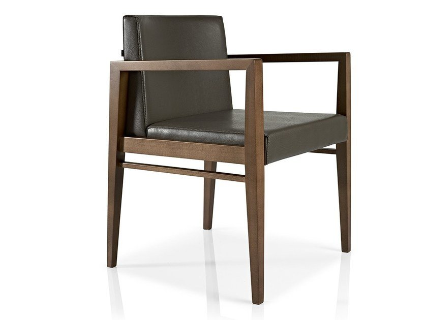 Leather chair with armrests SERENA | Chair with armrests by JMS
